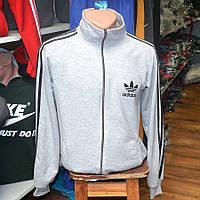 Мужская фирменная кофта на замке Adidas (серая) - Код 34-39