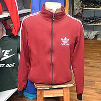 Мужская фирменная кофта на замке Adidas (бордо)