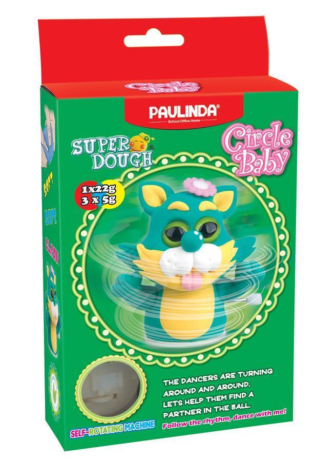 Масса для лепки Paulinda Super Dough Circle Baby Кот заводной механизм, зеленый PL-081177-3