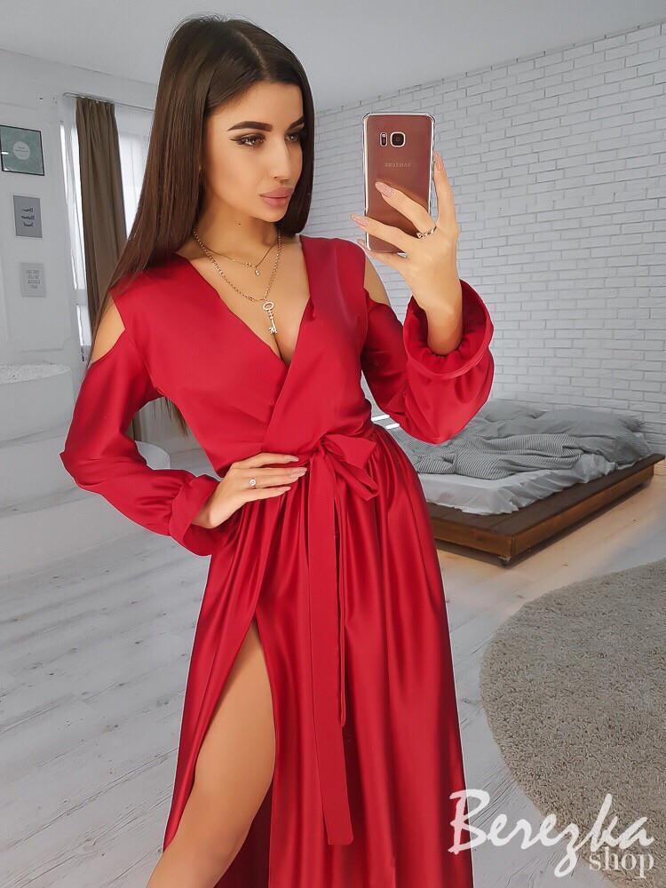 fe8f0a10ee1 Шелковое длинное платье с разрезами на плечах и ноге 66032430 - Интернет-магазин  одежды