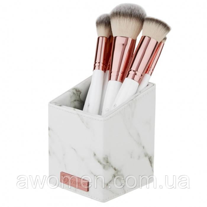 Набор кистей для макияжа BH Cosmetics White Marble с подставкой- 13 штук  Brush Set