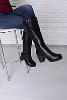 Черные Женские кожаные Сапоги зима - женская обувь от украинского производителя