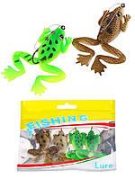 Набор лягушек незацепляек 2 расцветки (упаковка 4 штуки), длина 60 мм, вес 5,2 г.