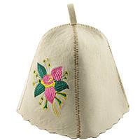 Шапка для сауны с вышивкой 'Цветок', Saunapro