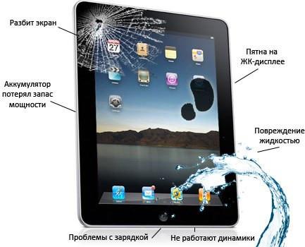 Ремонт планшета, замена сенсора, треснуло стекло на планшете