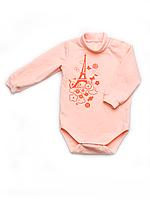 Боди для новорожденной девочки теплый с длинным рукавом