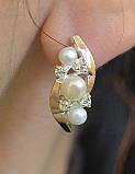 Серебряные серьги с жемчугом и золотыми вставками, фото 3