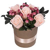 Букет из мыла на подарок в кашпо Персиковые розы 300 г