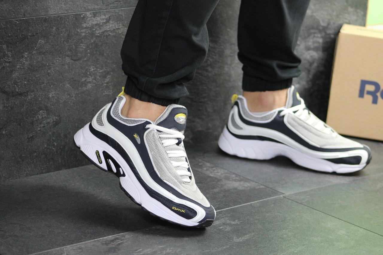 Мужские кроссовки Reebok Daytona DMX (Темно-синие с серым и желтым)