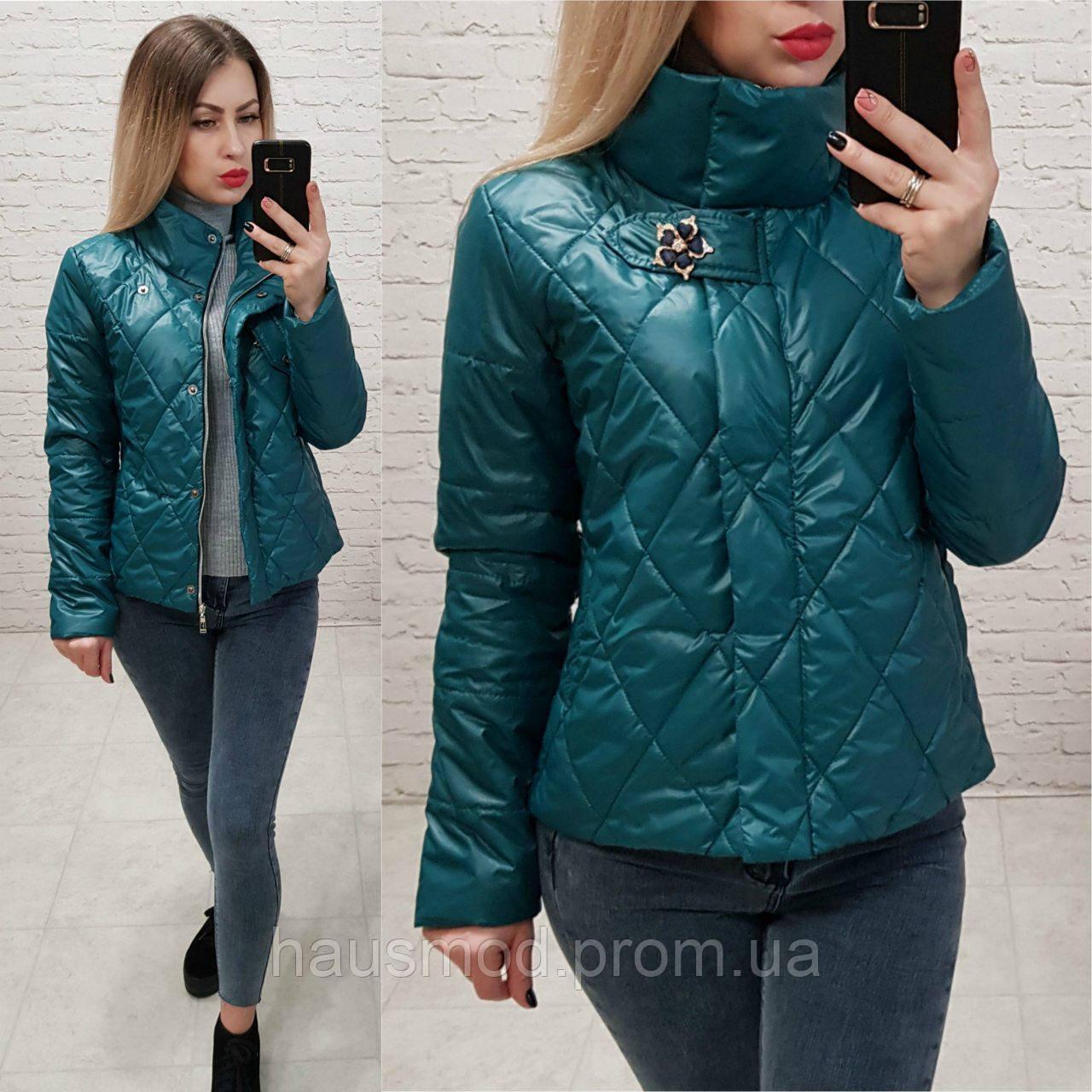 Женская куртка на синтепоне весна осень фабричный китай темно-зеленая