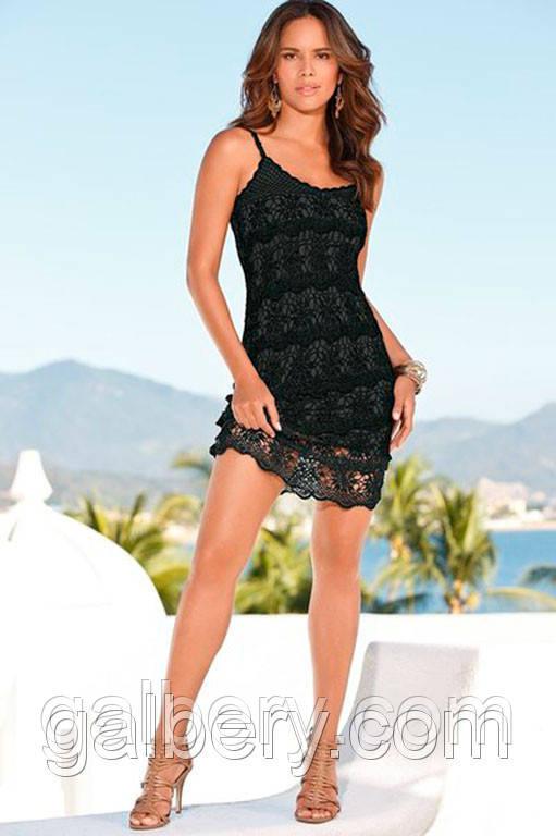 Вязаное крючком летнее платье черного цвета ручной работы с рюшами
