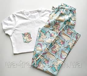 Женская пижама со штанами в единороги 100% хлопок