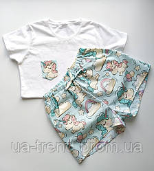 Пижамы женские с шортами в единороги 100% хлопок