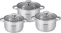 Набор кухонных кастрюль нержавейка 6 предметов ASTOR AST 1702 ASTOR набор посуды (2.9, 3.9, 6.1 л)