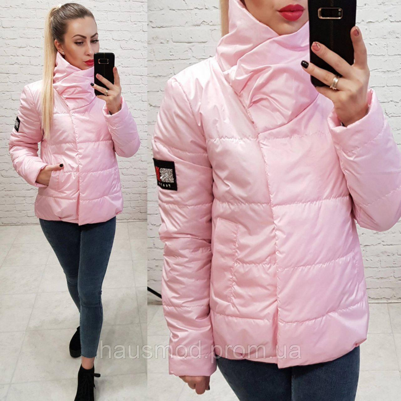 Женская куртка на силиконе весна осень фабричный китай розовая