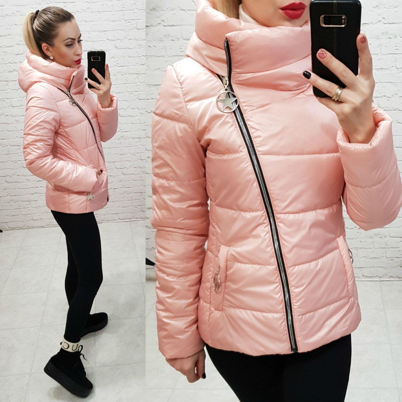 Куртка весна/осень, плащевка лак, модель 501, цвет - персиковый