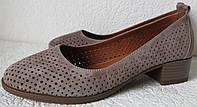 Nona женские удобные кожаные  туфли перфорация на маленьком каблуке! Для лета и весны., фото 1
