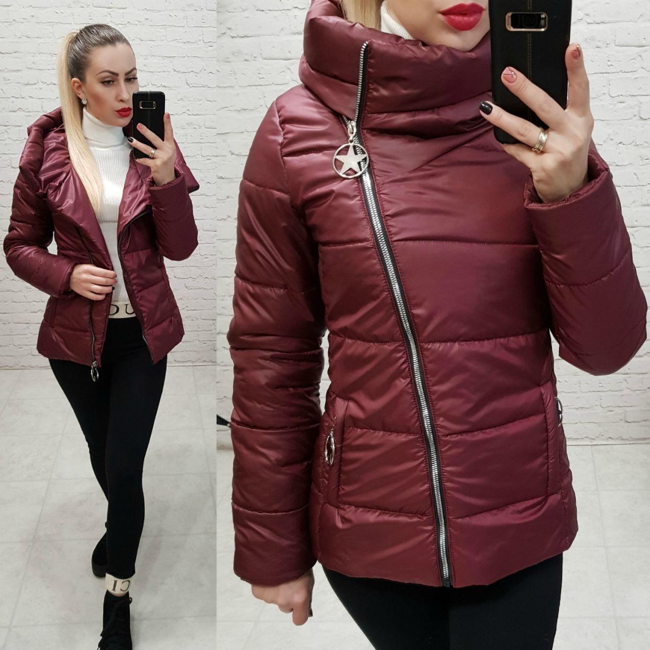 Куртка весна/осень, плащевка лак, модель 501, цвет - бордо