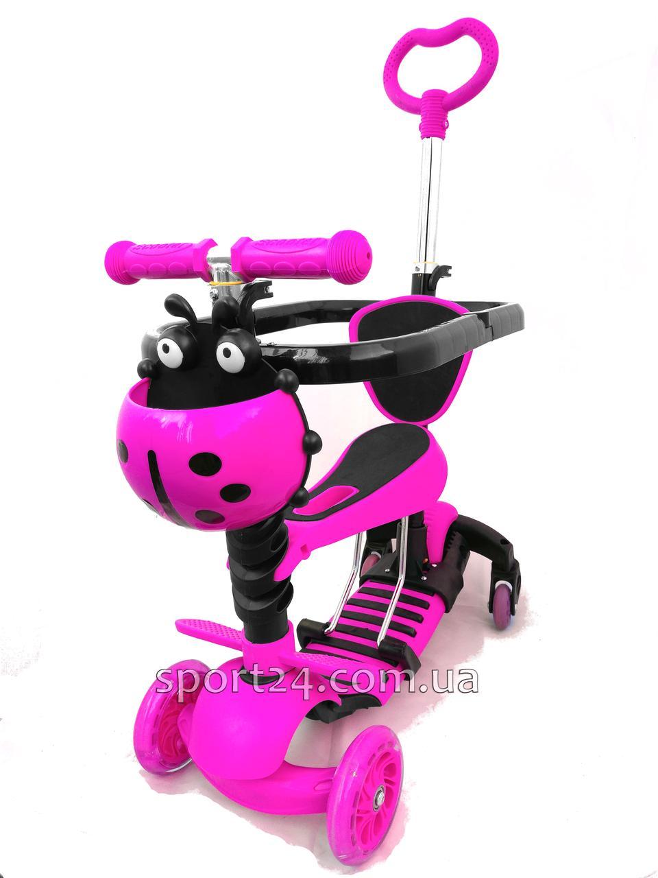 Самокат Scooter 5 в 1 Розовая коровка с ручкой, бампером, подножкой и поворотными колесами (от 1 года)