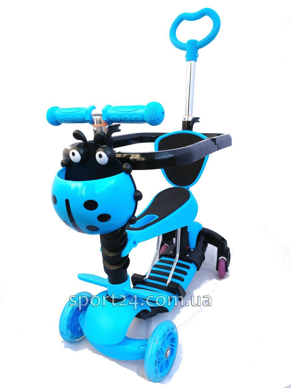 Самокат Scooter 5 в 1 Голубая коровка с ручкой, бампером, подножкой и поворотными колесами (от 1 года)