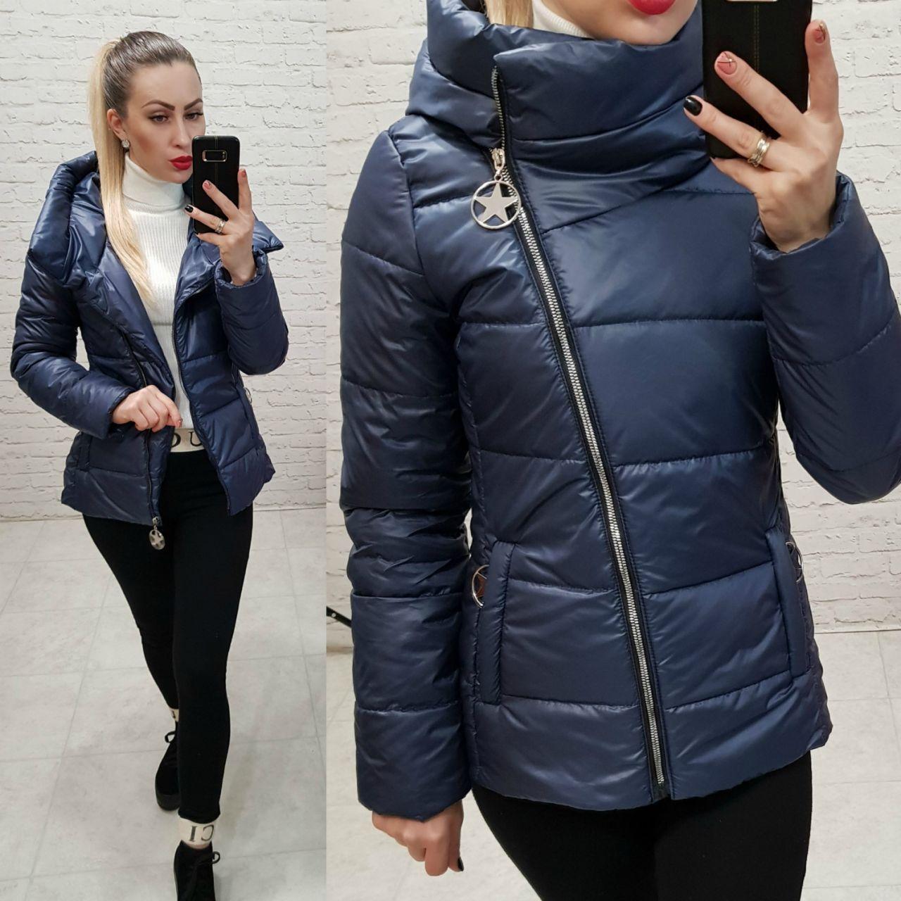 Куртка весна/осень, плащевка лак, модель 501, цвет - темно синий
