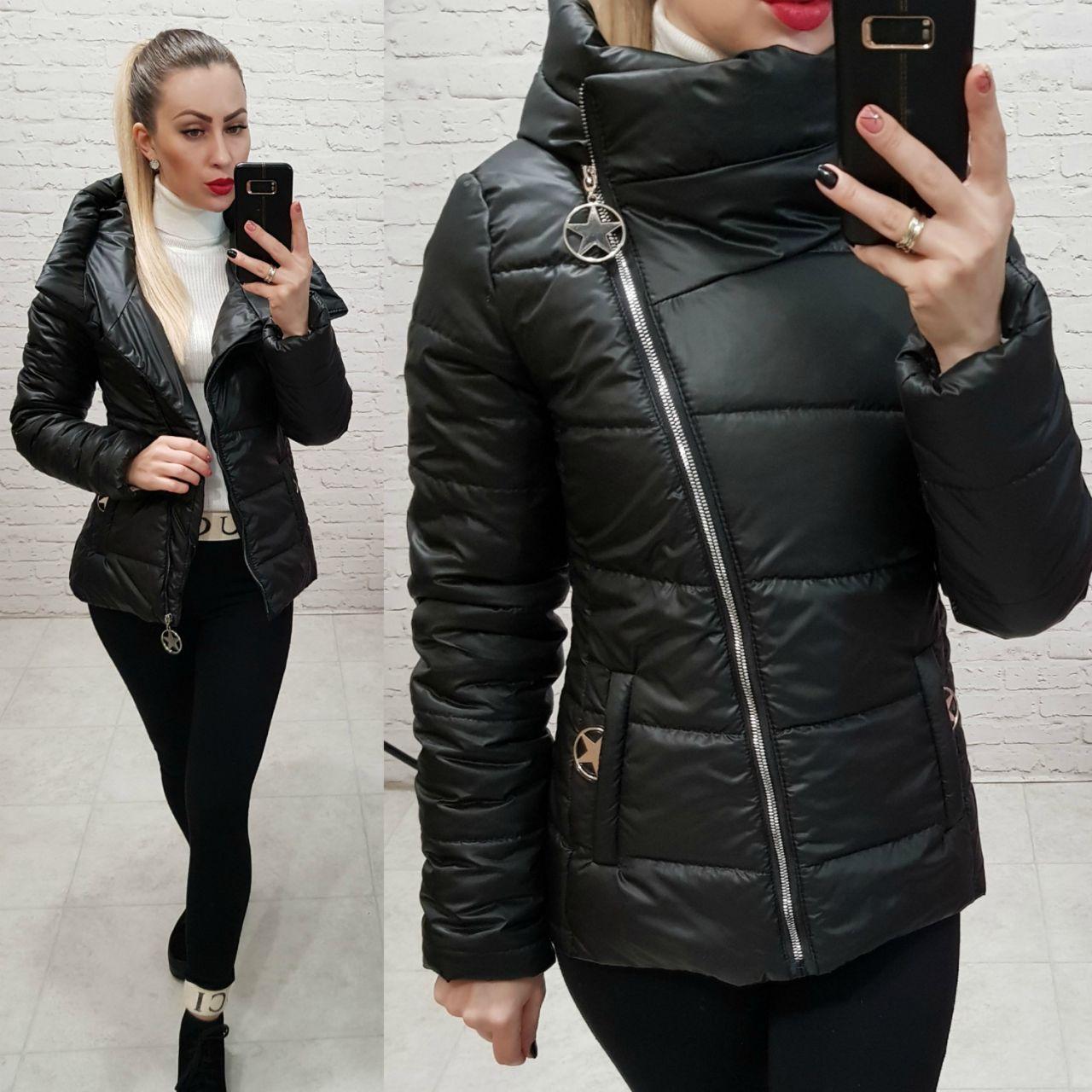 Куртка весна/осень, плащевка лак, модель 501, цвет - черный
