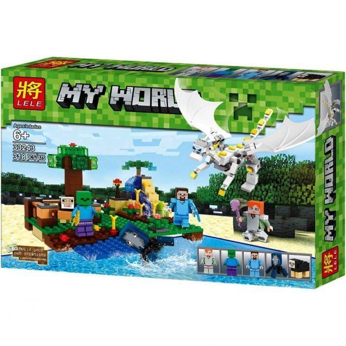 Конструктор Lele 33243 Minecraft Атака белого дракона 318 деталей