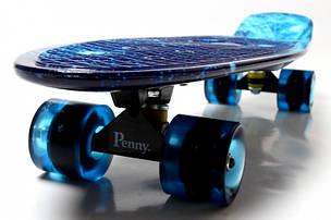 Скейт Пенни борд Penny Board Print Led 22 - Галактика 54 см, фото 2