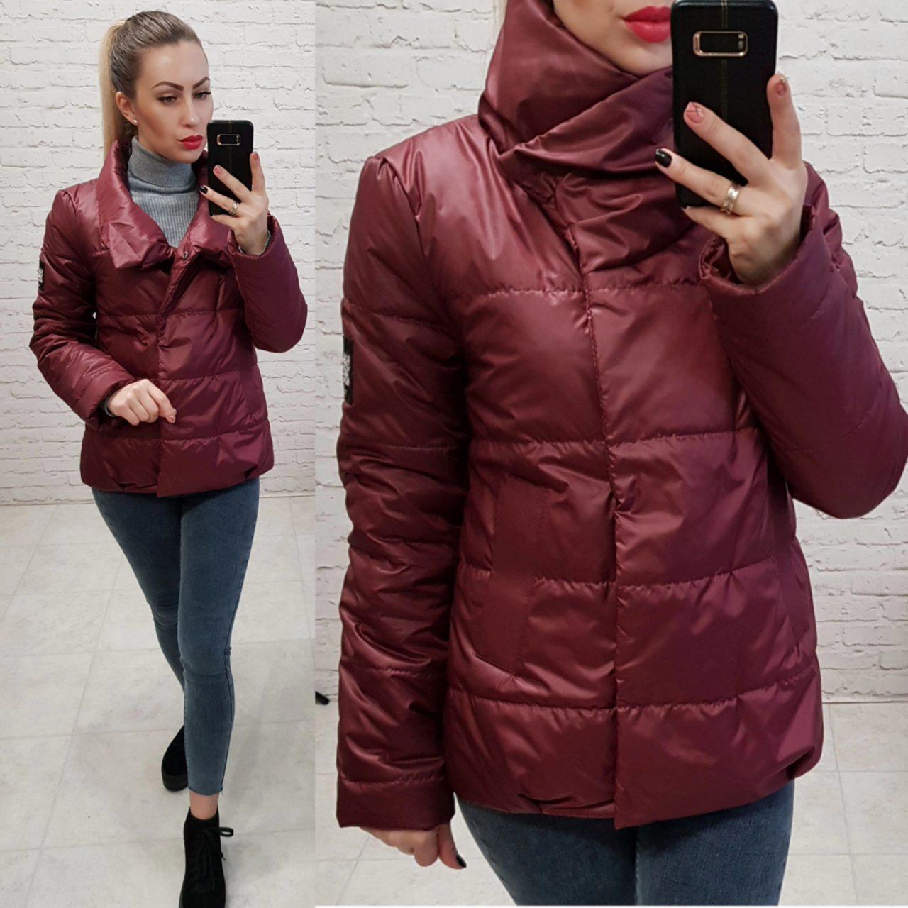 Куртка весна/осень, плащевка лак, модель 1004, цвет - бордо