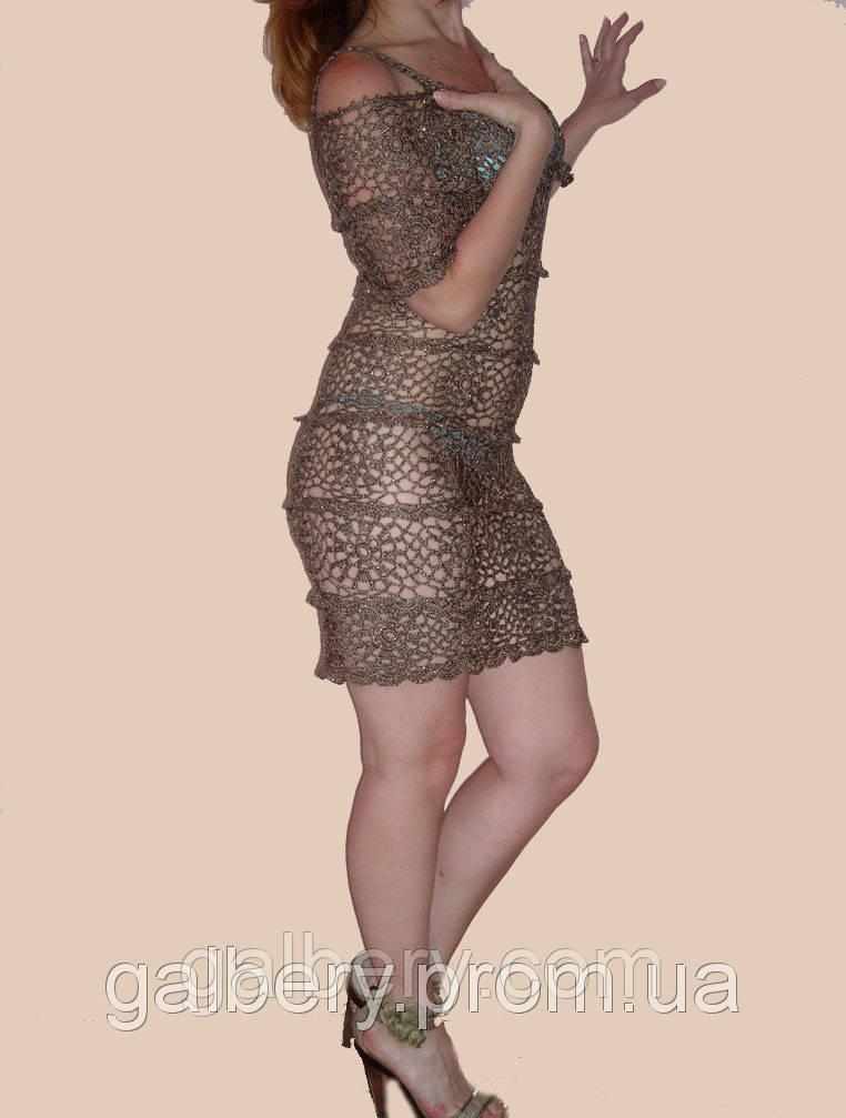 Вязаное платье ручной работы бронзового цвета с рюшами