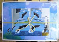 5D Постельное белье двуспальное евро - на голубом дельфины