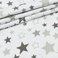 """Фланель детская """"Звёздный карнавал"""" серые и графитовые звёзды на белом, ширина 180 см"""