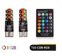 Яркие! LED RGB лампы стробоскоп Пульт RGB T10 W5W ДХО Габарит автомото  со стробоскопами на пульте ДУ