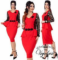 Женское стильное платье с гипюром на рукавах т.м. Vojelavi A1208