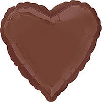 """Фольгированный шар Anagram Сердце 18"""" (46 см) шоколад пастель"""