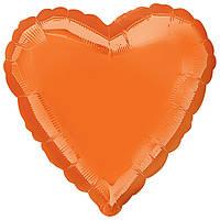 """Фольгированный шар Anagram Сердце 18"""" (46 см) металлик оранжевое"""