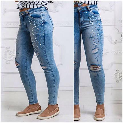 Светлые джинсы украшены жемчугом, фото 2