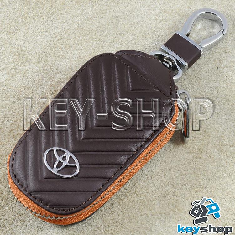 Ключниця кишенькова (шкіряна, коричнева, з тисненням, на блискавці, з карабіном), логотип авто Toyota (Тойота)