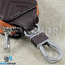 Ключниця кишенькова (шкіряна, коричнева, з тисненням, на блискавці, з карабіном), логотип авто Toyota (Тойота), фото 3
