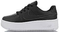 """Женские кроссовки Nike Air Force 1 Sage Low """"Black / White"""" (Найк Аир Форс) черные"""