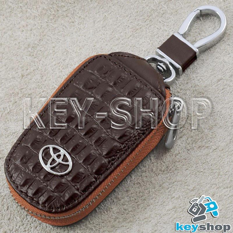Ключница карманная (кожаная, коричневая, с тиснением, на молнии, с карабином), логотип авто Toyota (Тойота)