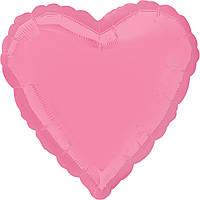 """Фольгированный шар Anagram Сердце 18"""" (46 см) пастель ярко-розовое"""