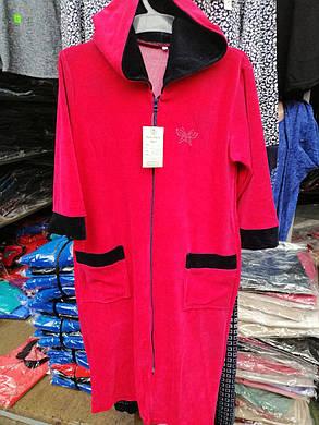 Жіночий велюровий халат з капюшоном., фото 2
