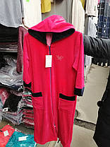 Жіночий велюровий халат з капюшоном., фото 3