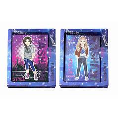 Блокнот детский А-6 Девочки с глиттером, в картонной коробке 18*15*2см 6041-1305