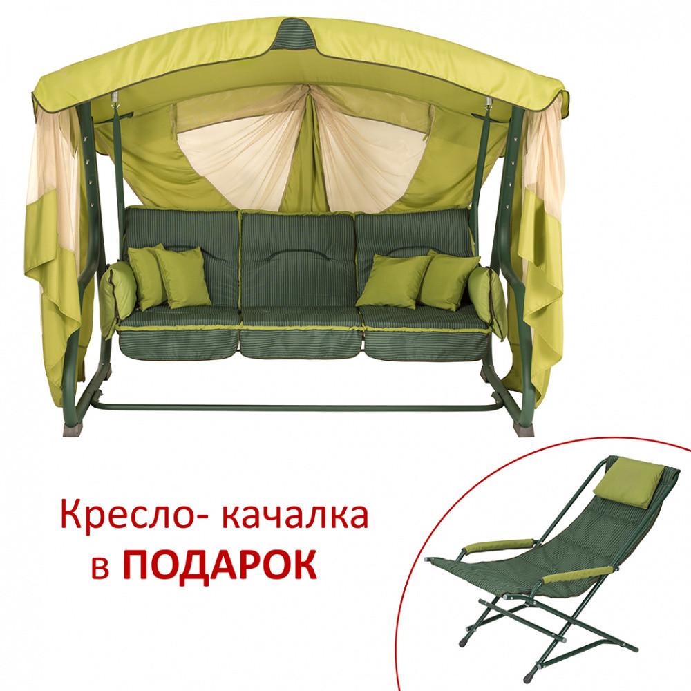 """Качели Vitan """"Алиса"""" (Олефин зеленый, двусторонняя) В подарок - кресло-качалка!"""