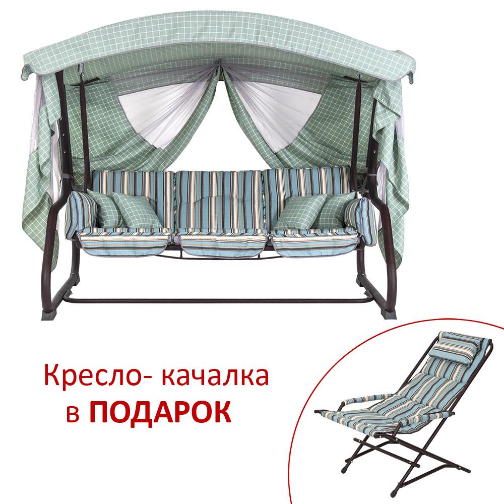 """Качели Vitan """"Алиса"""" (Дралон, голубая вертикальная полоса) В подарок - кресло-качалка!"""
