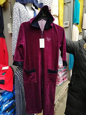 Женский велюровый халат с капюшоном. , фото 2