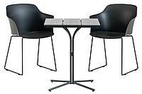 Садовый комплект мебели черной лофт (2 стула + столик квадратный на ножке ), фото 1