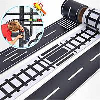 Игровая клейкая лента-дорога с разметкой., фото 1
